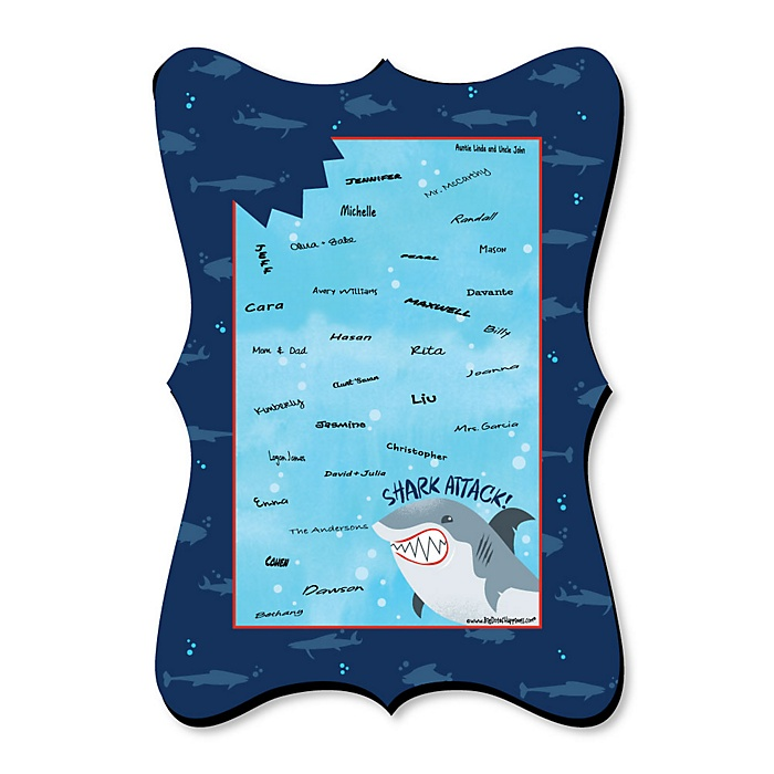 Shark Zone - Unique Alternative Guest Book - Jawsome Shark Viewing Week Party or Birthday Party Signature Mat