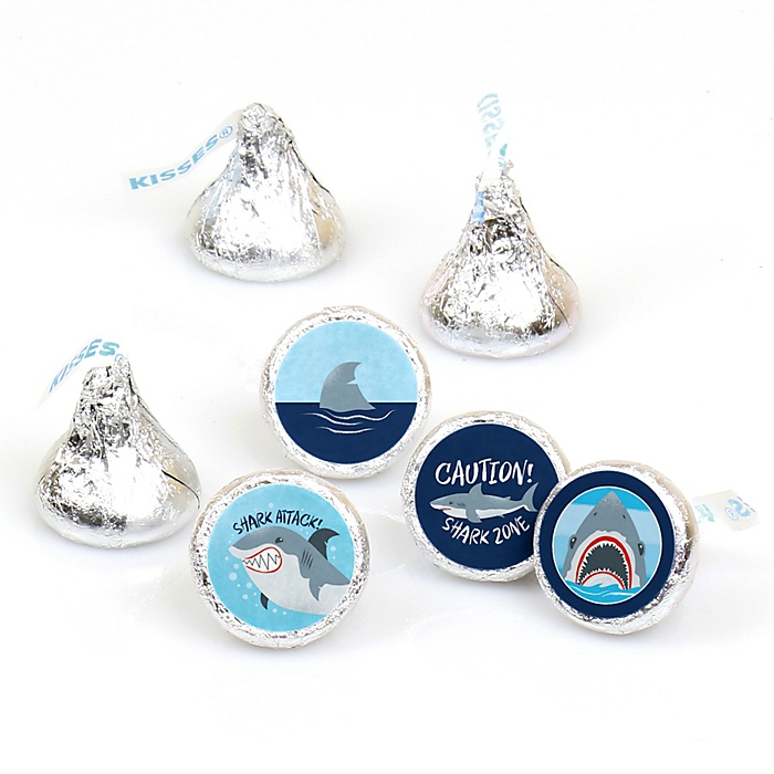 Shark Zone - Jawsome Shark Viewing Week Party or Birthday Party Round Candy Sticker Favors - Labels Fit Hershey's Kisses  - 108 ct