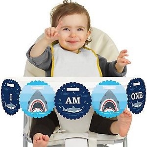 Shark Zone 1st Birthday - I am One - First Birthday High Chair Birthday Banner