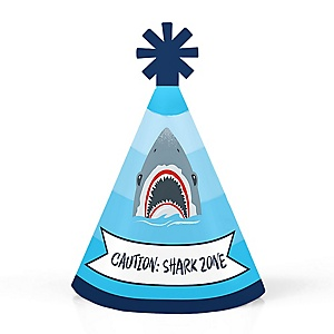 Shark Zone - Personalized Mini Cone Jawsome Shark Viewing Week Party or Birthday Party Hats - Small Little Party Hats - Set of 10