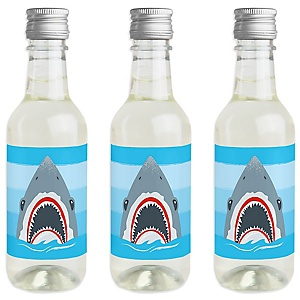 Shark Zone - Mini Wine and Champagne Bottle Label Stickers - Jawsome Shark Viewing Week Party or Birthday Party Favor Gift for Women and Men - Set of 16