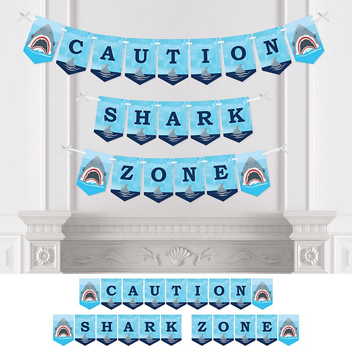 Shark Zone - Jawsome Shark Viewing Week Party Bunting Banner - Party Decorations - Caution Shark Zone