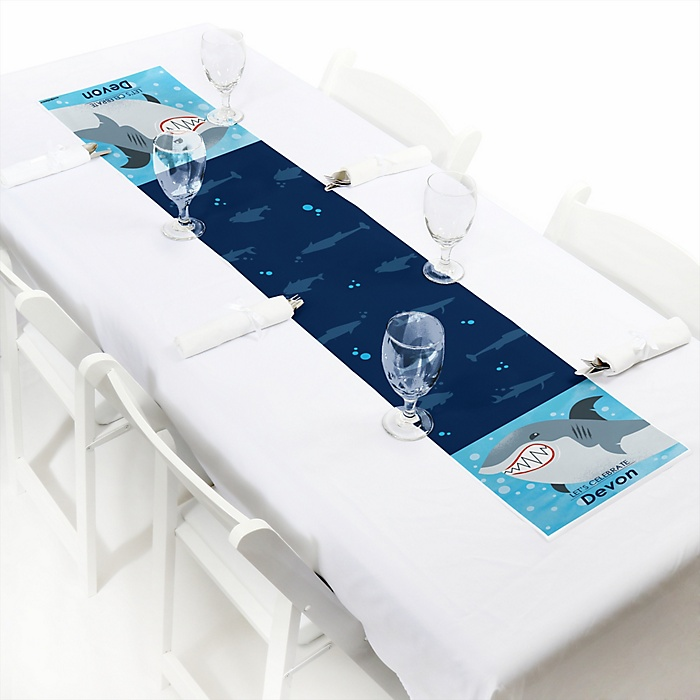 """Shark Zone - Personalized Petite Jawsome Shark Viewing Week Party or Birthday Party Table Runner - 12"""" x 60"""""""