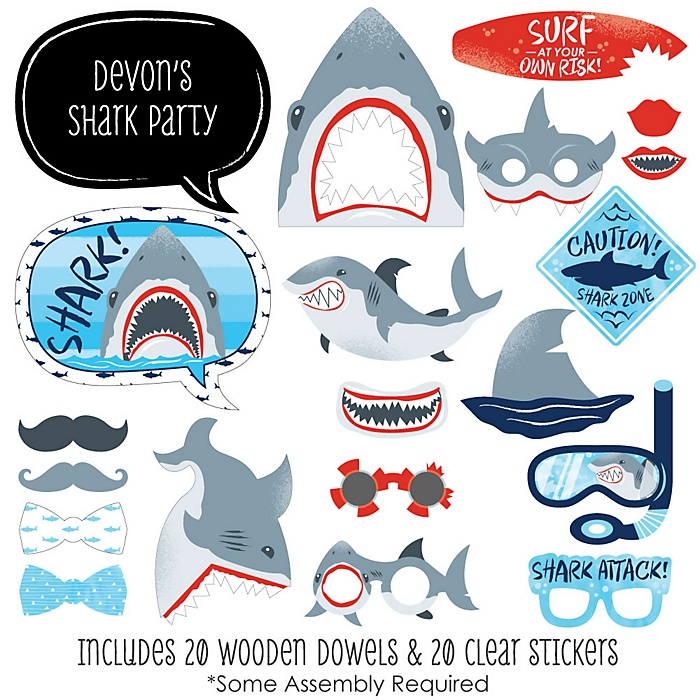 Shark Zone - 20 Piece Jawsome Shark Viewing Week Photo Booth Props Kit