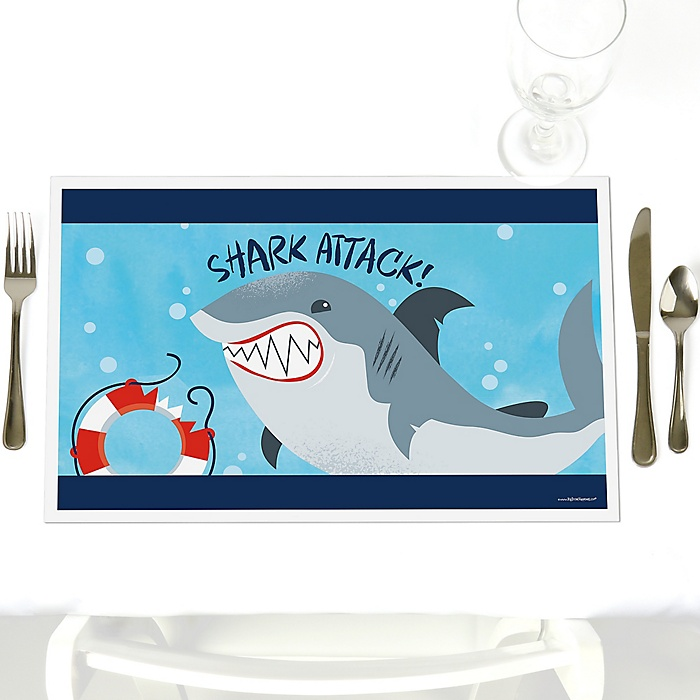 Shark Zone - Party Table Decorations - Jawsome Shark Viewing Week Party or Birthday Party Placemats - Set of 12