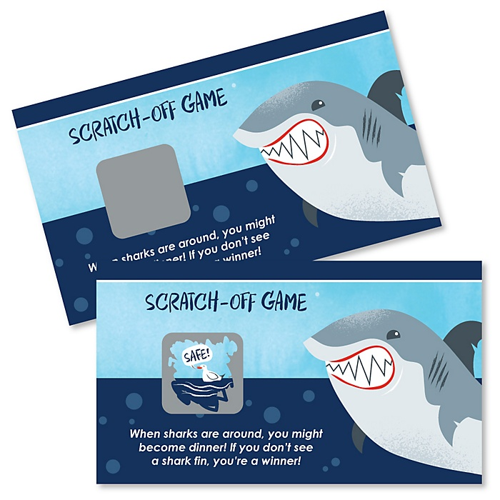 Shark Zone - Jawsome Shark Viewing Week Party or Birthday Party Scratch Off Cards - 22 Cards