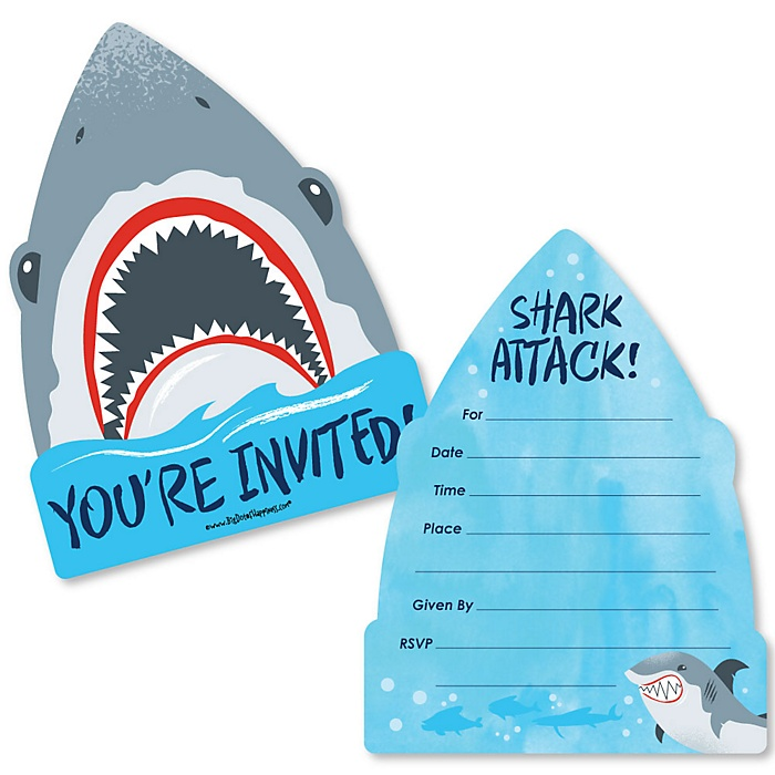 Shark Zone - Shaped Fill-In Invitations - Jawsome Shark Viewing Week Party or Birthday Party Invitation Cards with Envelopes - Set of 12