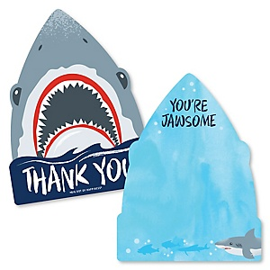 Shark Zone - Shaped Thank You Cards - Jawsome Shark Viewing Week Party or Birthday Party Thank You Note Cards with Envelopes - Set of 12