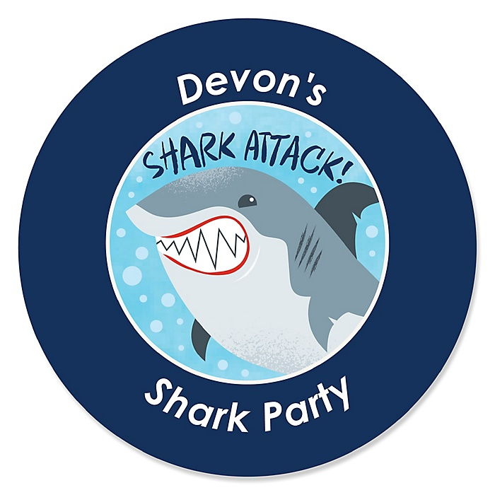 Shark Zone - Personalized Jawsome Shark Viewing Week Party or Birthday Party Sticker Labels - 24 ct