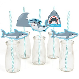Shark Zone - Paper Straw Decor - Jawsome Shark Viewing Week Party or Birthday Party Striped Decorative Straws - Set of 24