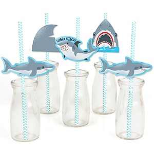 Shark Zone - Paper Straw Decor - Jawsome Shark Party or Birthday Party Striped Decorative Straws - Set of 24