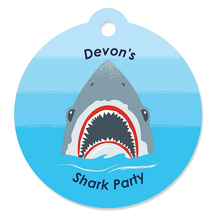 Shark Zone - Personalized Jawsome Shark Viewing Week Party or Birthday Party Favor Gift Tags - 20 ct