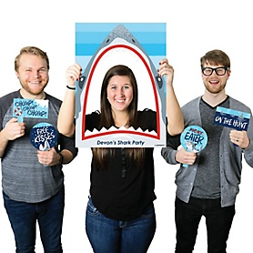 Shark Zone - Personalized Jawsome Shark Viewing Week Party or Birthday Party Selfie Photo Booth Picture Frame & Props - Printed on Sturdy Material