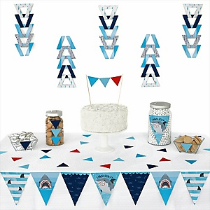 Shark Zone -  Triangle Jawsome Shark Party or Birthday Party Decoration Kit - 72 Piece