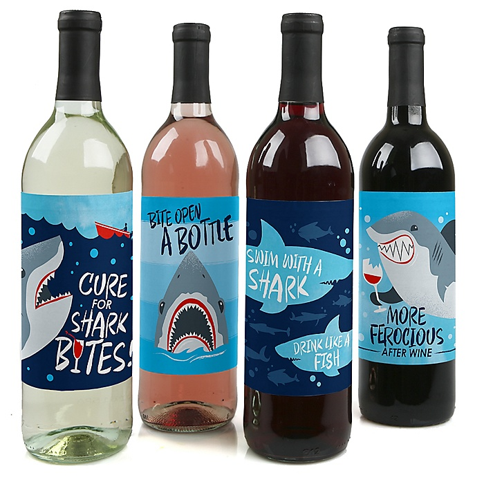 Shark Zone - Jawsome Shark Viewing Week Decorations for Women and Men - Wine Bottle Label Stickers - Set of 4