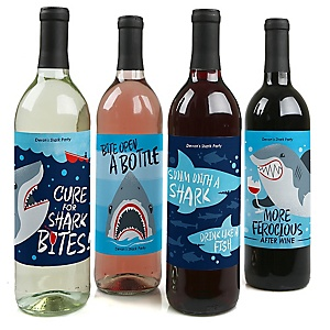 Shark Zone - Personalized Jawsome Shark Decorations for Women and Men - Wine Bottle Label Stickers - Set of 4