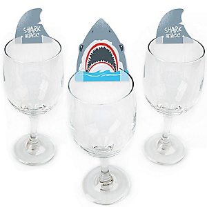 Shark Zone - Shaped Jawsome Shark Viewing Week Party Wine Glass Markers - Set of 24