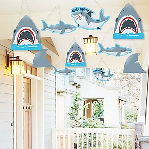 Hanging Shark Zone - Outdoor Jawsome Shark Viewing Week Party or Birthday Party Hanging Porch & Tree Yard Decorations - 10 Pieces