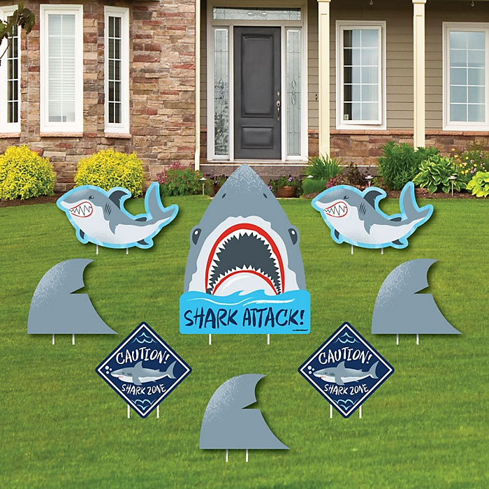 Shark Zone - Yard Sign & Outdoor Lawn Decorations - Jawsome Shark Viewing Week Party or Birthday Party Yard Signs - Set of 8