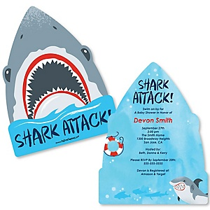 Shark Zone - Shaped Jawsome Shark Viewing Week Party or Birthday Party Invitations - Set of 12