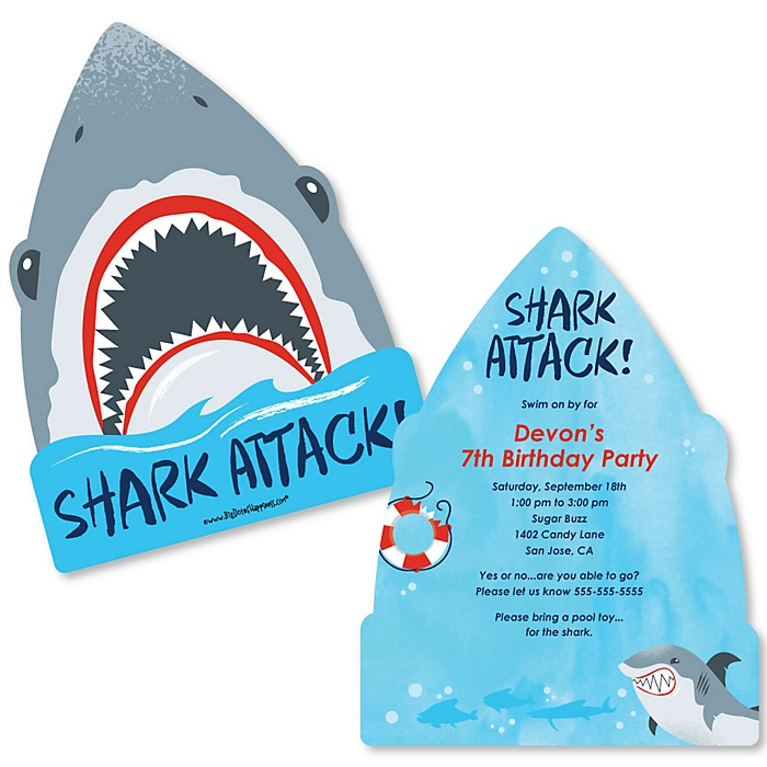 Shark Zone - Shaped Jawsome Shark Viewing Week Party or Birthday Party Birthday Party Invitations - Set of 12
