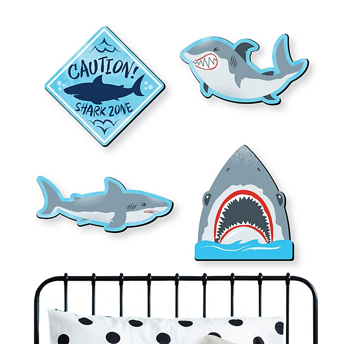 Shark Zone - Kids Room and Home Decorations - Shaped Wall Art - 4 Piece