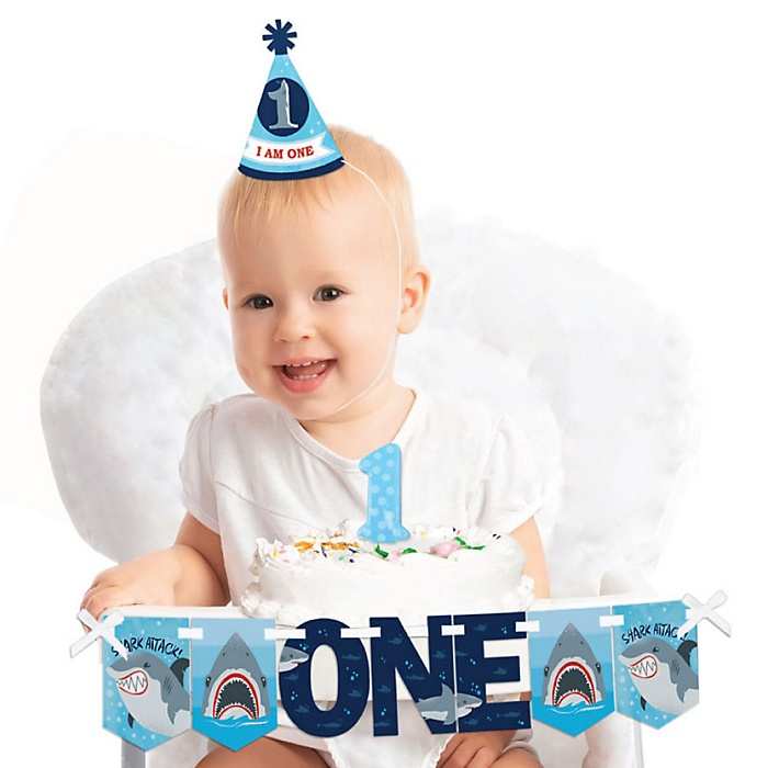 Shark Zone 1st Birthday - First Birthday Boy Smash Cake Decorating Kit - High Chair Decorations