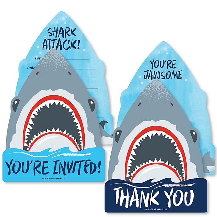 Shark Zone - 20 Shaped Fill-In Invitations and 20 Shaped Thank You Cards Kit - Jawsome Shark Viewing Week Party or Birthday Party Stationery Kit - 40 Pack