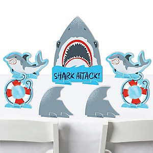 Shark Zone - Jawsome Shark Party or Birthday Party Centerpiece Table Decorations - Tabletop Standups - 7 Pieces