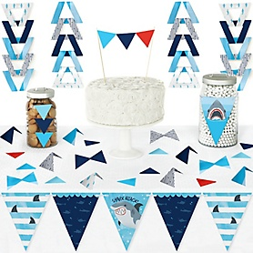 Shark Zone - DIY Pennant Banner Decorations - Jawsome Shark Viewing Week Party or Birthday Party Triangle Kit - 99 Pieces