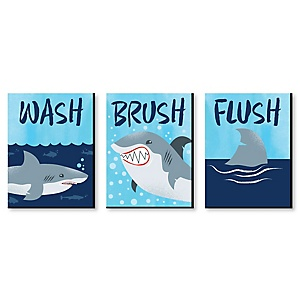 Shark Zone - Kids Bathroom Rules Wall Art - 7.5 x 10 inches - Set of 3 Signs - Wash, Brush, Flush
