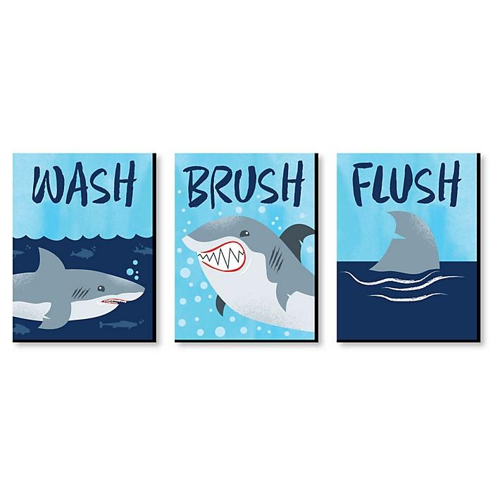 Shark Zone - Kids Bathroom Rules Wall Art - 7.5 x 10 inches - Set of 3 Signs - Wash, Brush, Flush