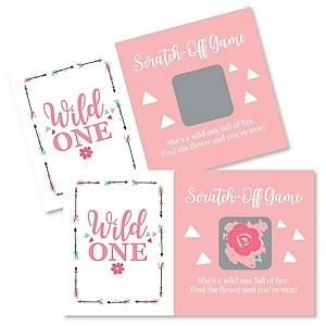 She's a Wild One - Boho Floral 1st Birthday Party Game Scratch Off Cards - 22 ct