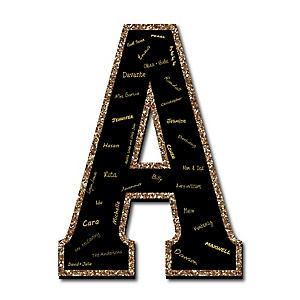 "Signature Letter A - Guest Book Sign Letter - 21"" Foam Board Party Guestbook Alternative 