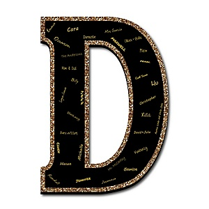 "Signature Letter D - Guest Book Sign Letter - 21"" Foam Board Party Guestbook Alternative 