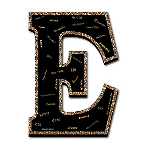 "Signature Letter E - Guest Book Sign Letter - 21"" Foam Board Party Guestbook Alternative 