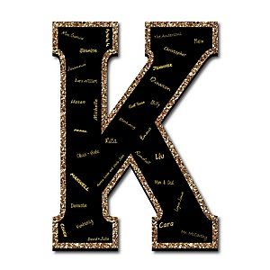 "Signature Letter K - Guest Book Sign Letter - 21"" Foam Board Party Guestbook Alternative 