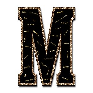 "Signature Letter M - Guest Book Sign Letter - 21"" Foam Board Party Guestbook Alternative 