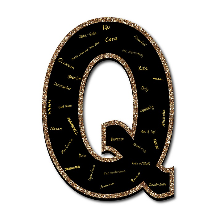 "Signature Letter Q - Guest Book Sign Letter - 21"" Foam Board Party Guestbook Alternative 