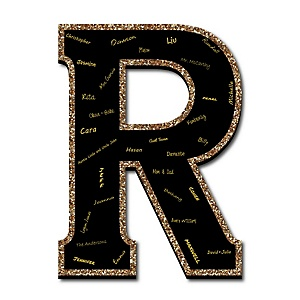 "Signature Letter R - Guest Book Sign Letter - 21"" Foam Board Party Guestbook Alternative 
