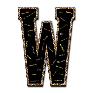 "Signature Letter W - Guest Book Sign Letter - 21"" Foam Board Party Guestbook Alternative 