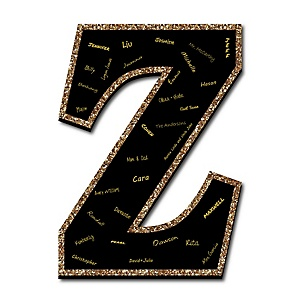 "Signature Letter Z - Guest Book Sign Letter - 21"" Foam Board Party Guestbook Alternative 