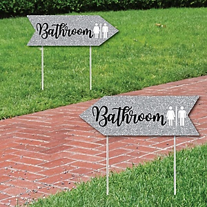Silver Wedding Bathroom Signs - Wedding Sign Arrow - Double Sided Directional Yard Signs - Set of 2 Bathroom Signs