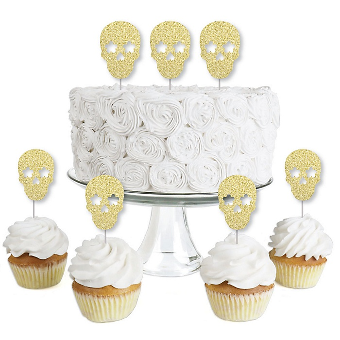 Gold Glitter Sugar Skull - No-Mess Real Gold Glitter Dessert Cupcake Toppers - Day of the Dead and Halloween Party Clear Treat Picks - Set of 24
