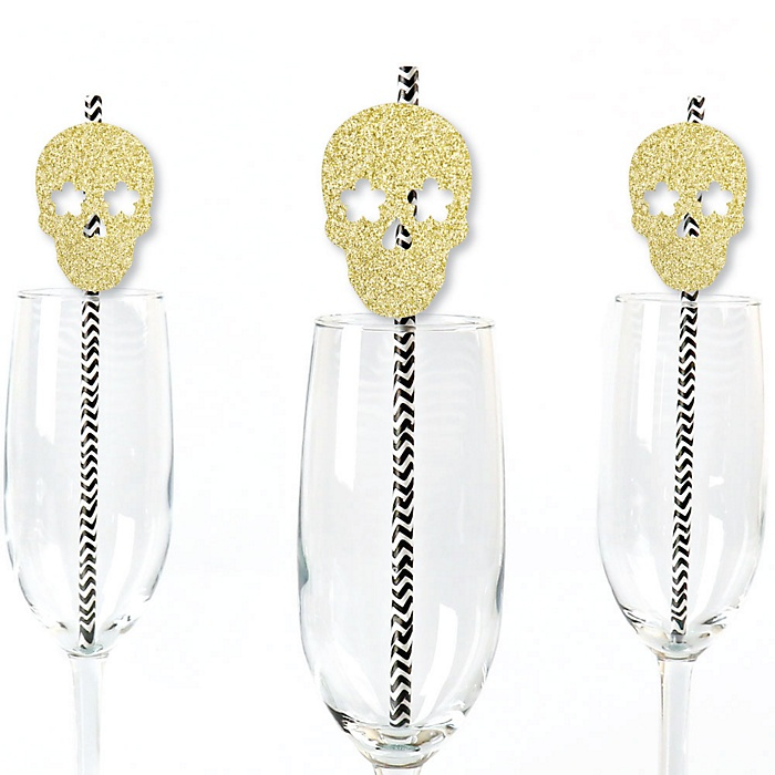 Gold Glitter Sugar Skull Party Straws - No-Mess Real Gold Glitter Cut-Outs and Decorative Day of the Dead and Halloween Party Paper Straws - Set of 24