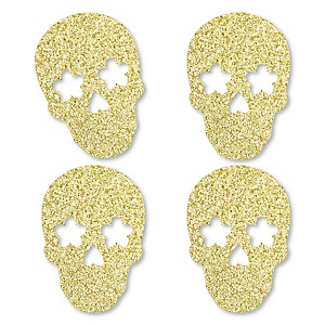 Gold Glitter Sugar Skull - No-Mess Real Gold Glitter Cut-Outs - Day of the Dead and Halloween Party Confetti - Set of 24