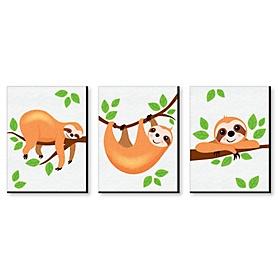 Let's Hang - Sloth - Nursery Wall Art & Kids Room Decor - 7.5 x 10 inches - Set of 3 Prints
