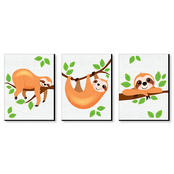 Let's Hang - Sloth - Nursery Wall Art & Kids Room Decor - 7.5 x 10 inches - Set of 3 Prints