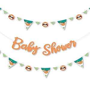Let's Hang - Sloth - Baby Shower Letter Banner Decoration - 36 Banner Cutouts and Baby Shower Banner Letters