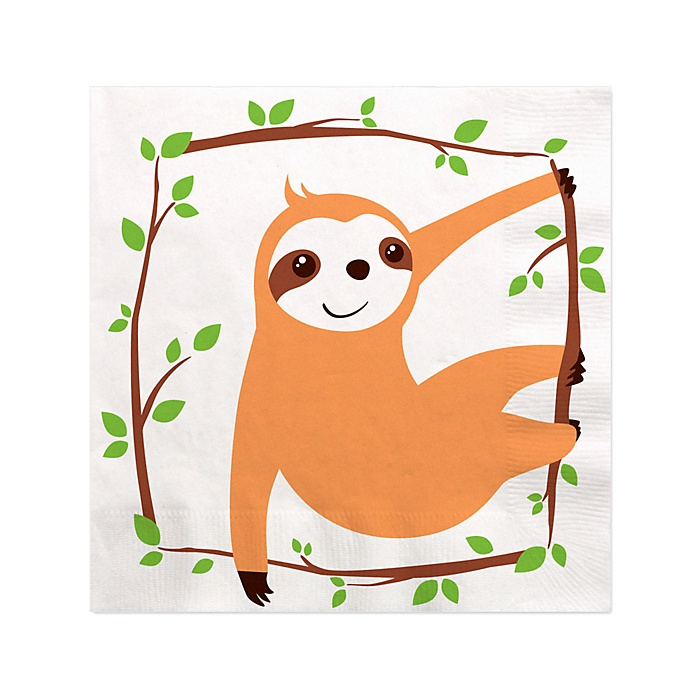 Let's Hang - Sloth - Baby Shower or Birthday Party Cocktail Beverage Napkins - 16 ct